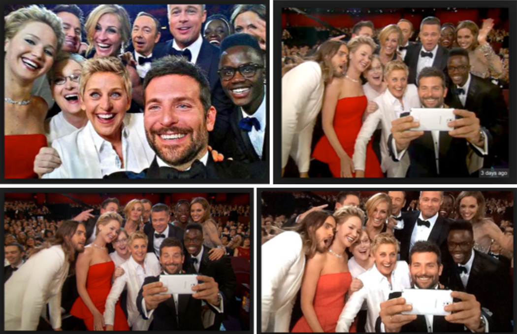 oscar selfies smiles social media